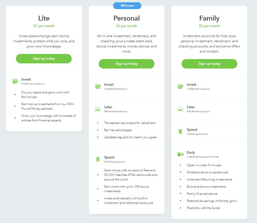 Acorns tiene tres modelos de suscripción;(1) modelo ligero el cual cuesta un dólar, (2) modelo personal que cuesta 3 dólares, (3) modelo familiar.